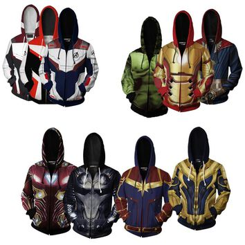 Hoodie Cosplay Avengers Endgame Quantum Realm Sweatshirt Jacket Advanced Tech Costumes Avengers End Game Hood Superhero Hoodies