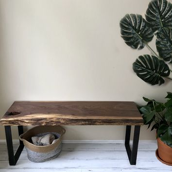 The Foundation Bench No. 48 - Live-edge, Walnut & Steel Entryway Bench