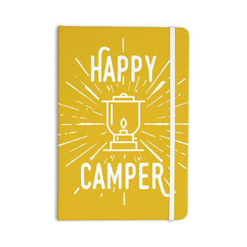 "Jackie Rose ""Happy Camper"" Yellow Typography Everything Notebook"