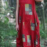 Red Sleeveless Printed Midi Dress