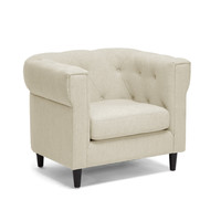 Linen Lounge Chair in Cream