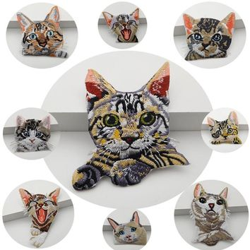 2PCS Pocket cat embroidery lace patch Down jacket denim clothes Shirt creative patch DIY decorative embroidery RS1395