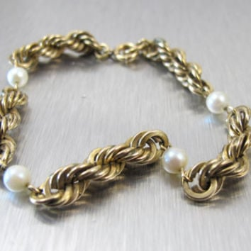 Art Deco Bracelet Pearl GF 12K Gold Chain Antique Jewelry 1930s Art Deco Jewelry
