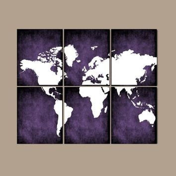 WORLD MAP Wall Art, CANVAS or Prints Bedroom Pictures, Grunge Effect, Purple Colors, Desk Office Decor, Library Room, Set of 6, Home Decor