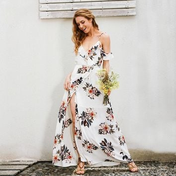 Floral Print Backless Ruffles Chiffon V Neck Long Strap Split Dress