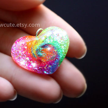 Heart Charm Necklace - Heart Shape Rainbow Tie Dye Style, Sparkly Resin Pendant - Flirty Summer Necklace, Resin Jewelry Handmade by isewcute