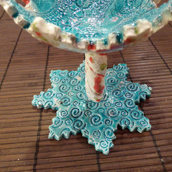 Candle holder,  Ring Dishes , Jewelry holder ,Blue and white with red and green dots