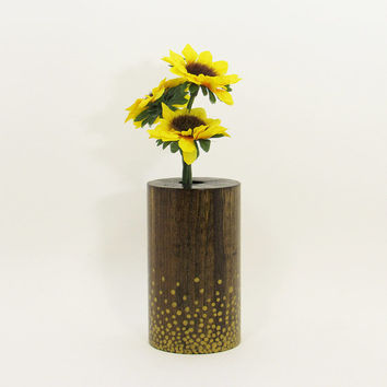 Wood Bud Vase, Wood Test Tube Vase, One Flower Vase, Wooden Bud Vase Centerpiece, Painted Vase, Rustic Home, Home Decor,  Gold Dots