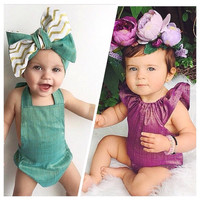 Baby girl romper/ Baby playsuit/ Toddler sunsuit/ Birthday outfit/ Special occasion outfit/ Infant summer romper