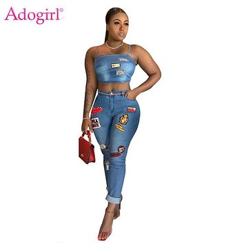 Adogirl Cartoon Patch Jeans Two Piece Set Spaghetti Straps Crop Top Curled Jeans Pants Women Sexy Night Club Suit Casual Outfits