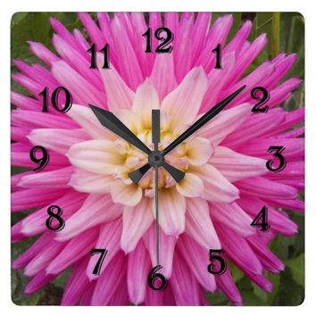 Pink Dahlia Bloom Floral Photo Square Wall Clock