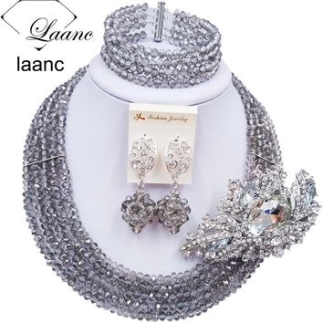 Laanc Handmade  Crystal Beaded Necklace Nigerian Wedding African Beads Jewelry Set for Women 5DS018