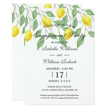 Modern Boho Lemon Summer Engagement Party Card