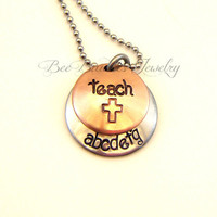 Hand Stamped Jewelry Personalized Teachers Necklace - Mixed Metal Jewelry