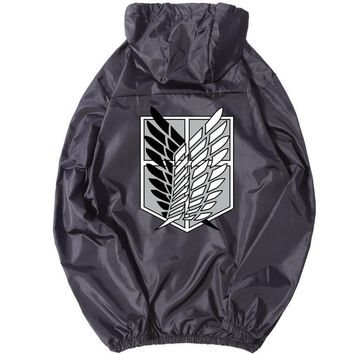 Cool Attack on Titan  er Thin Jacket Zipper Outwear no  Cosplay Windbreaker Basic Hooded Baseball Coat D82201 AT_90_11