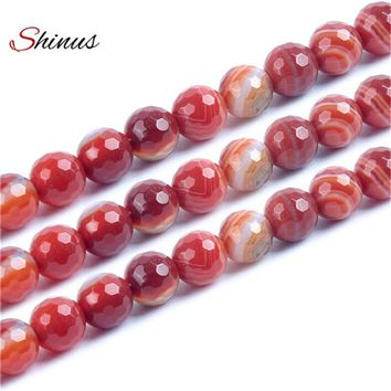 Shinus Red Natural Stone Facet Onyx Beads For Jewelry Making Diy Necklaces Meditation Bracelet Buddhist Prayer Bead Accessories