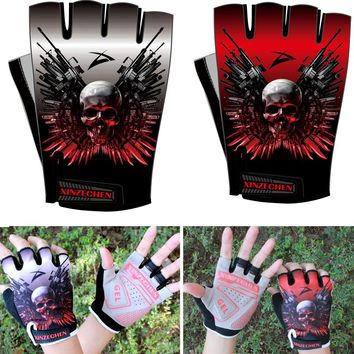 Skull Cycling Gloves Red White Bike Bicycle 3D GEL Shockproof