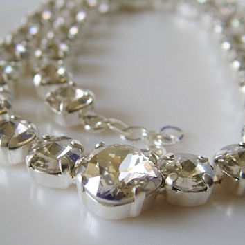 Tennis Necklace, Silver Shade Rhinestone, Swarovski Crystal Necklace, Round Rivoli, Square