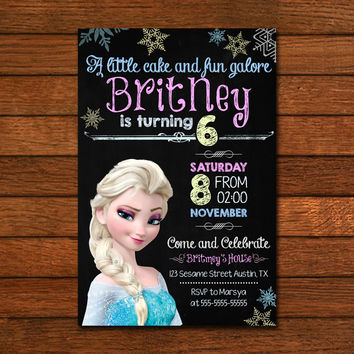 Chalkboard Queen Elsa Frozen Design Inspired Invitation