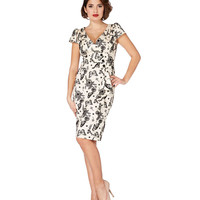 Monarch Butterfly Flocked Pencil Dress