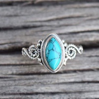 Turquoise stone ring, silver ring,  silver Turquoise ring, stone ring, 92.5 sterling silver, Natural Turquoise Silver Ring RNSLTR5