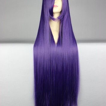 40 inches Harajuku Anime Purple Cosplay Wig Young Long Straight