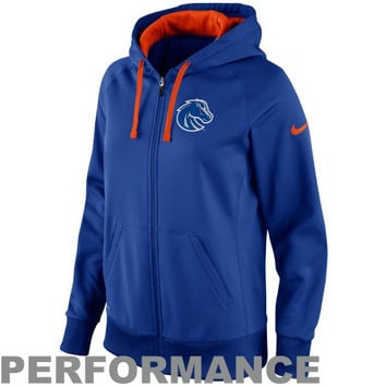 Nike Boise State Broncos Women's Sideline Scoop Full Zip Performance Hoodie - Royal Blue