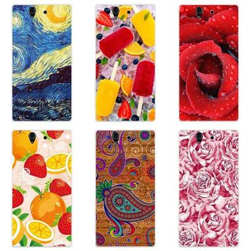 Luxury Printing Case For Sony Xperia Z L36h C6603 C6602 Art Print Flower Cell Phone Cover Rose Funda Cute Animal Coque