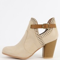 Qupid Sake-38 Perforated Buckle Ankle Boots | MakeMeChic.com