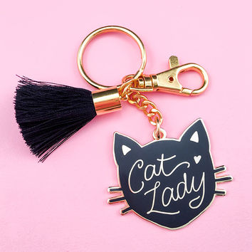 Cat Lady Keychain - Black