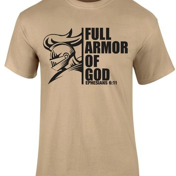 Full Armour of God Ephesians 6:11 Khaki Short Sleeve T-shirt