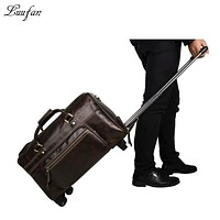 Men's genuine leather trolley case Cow leather business luggage bag Real leather travel bag with wheels Large Travel duffel