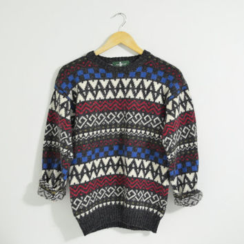 Vintage 90s Tribal Geometric Print Pullover Sweater Wool Blend Cozy Warm Knit Fall Autumn Winter Size Womens XSmall Small