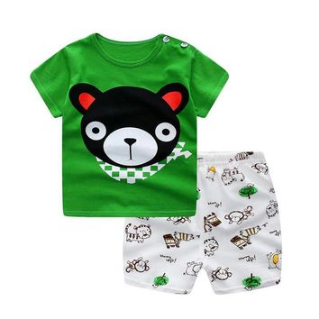 HH Baby boy clothes 2017 baby summer clothing Short-sleeved Casual Children print cartoon Shirt+Shorts 2pcs baby girl set outfit