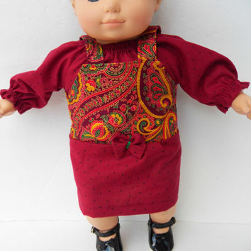 "American Girl Bitty Baby Clothes 15"" Doll Clothes Girl Red Paisley Print Jumper & Dot Peasant Blouse Fall Autumn 2pc Outfit -Thankgiving!"