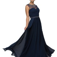 Sheer Illusion Navy Bridesmaid Dress DQ9580