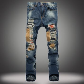 Ripped Holes Strong Character Slim Denim Pants Jeans [1922679668829]