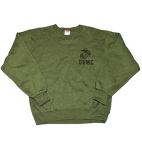 Vintage USMC Army Green Crewneck Sweatshirt Made in USA Mens Size Small