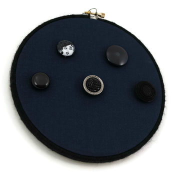 Decorative Wall Hanger For Necklaces And Bracelets, Blue With Multi Buttons
