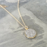 Gold Silver Druzy Necklace, Silver Druzy Gold Necklace, Silver Druzy Necklace, Gold Druzy Necklace, Druzy Necklace