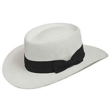 Gambler Links Elegant Golf Dress Straw Panama Hat with Stylish Black Hatband WHITE 7 5/8