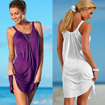 Women's Summer Casual Sleeveless Evening Party Beach Dress Short Mini Dress New