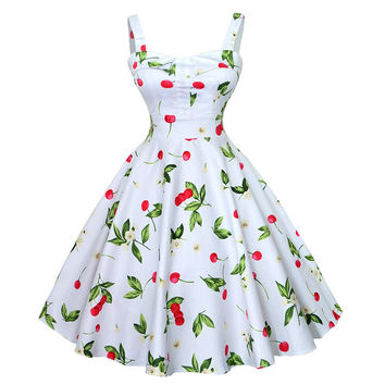 40s 50s 60s Flora Print Women Summer Dresses 2016 Plus Size Vintage Ball Gown Retro Pin Up Rockabilly Swing Party Dress