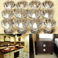 12pcs Crystal Glass Door Knobs Drawer Cabinet Furniture Kitchen Handle
