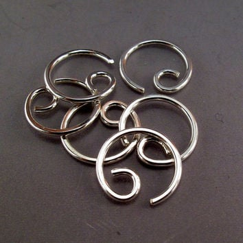 cartilage. septum. nose. piercing.  single GAUGED EARRING. SILVER hoop. sterling wire. 16 gauge heavy. small. unisex. mens jewelry