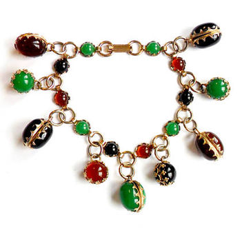 Vintage Faux Stone Charm Bracelet Green Jade Black Onyx Orange Carnelian Dangle Bead Chain Link Silver Tone Metal Mid Century