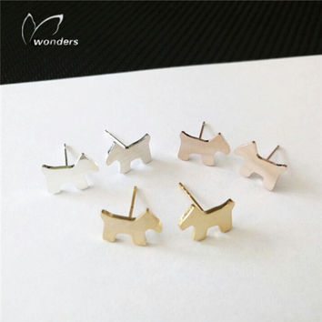 Silver 2015 Tiny Puppy earrings Romantic Stainless Steel Earing For Women Gold Silver Plated Stud Earrings Teen Girl Gift