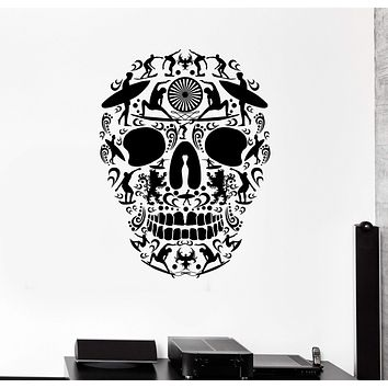 Vinyl Wall Decal Surfing Skull Wave Surfer Teen Room Stickers Unique Gift (ig4492)