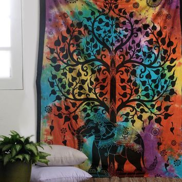 Banyan Bodhi Tree Indian Beach Bedspread Boho Mandala Elephant Tapestry Wall Hanging Large Size Gobelin Wall Cloth Carpet Decor