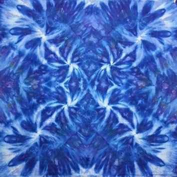 trippy tie dye tapestry wall hanging in blues